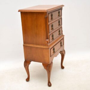 Small Antique Figured Walnut Chest on Legs
