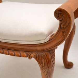 Antique Carved Walnut Gondola Stool