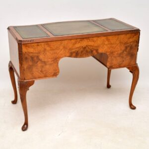 Antique Burr Walnut Leather Top Writing Table / Desk
