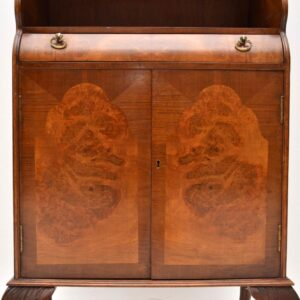 Antique Burr Walnut Open Bookcase Cabinet