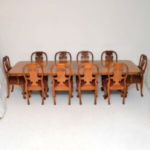 Antique Burr Walnut Queen Anne Dining Table & Eight Chairs