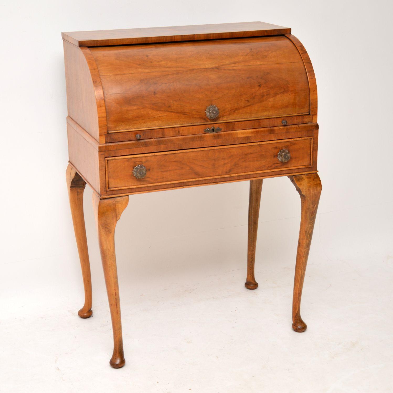 Antique Walnut Queen Anne Style Cylinder Top Writing Bureau