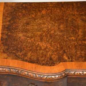 Antique Burr Walnut Serpentine Chest on Legs