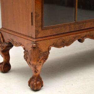 Antique Queen Anne Style Burr Walnut Glazed Bookcase