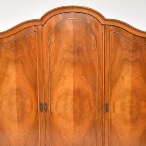Antique Figured Walnut Three Door Wardrobe