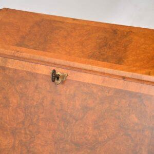 Antique Burr Walnut Writing Bureau on Legs