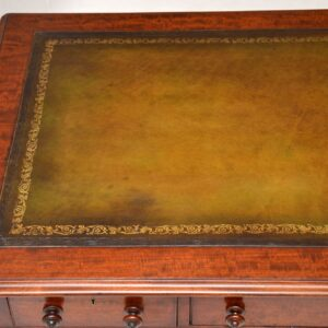 Large Antique William IV Mahogany Leather Top Writing Table / Desk