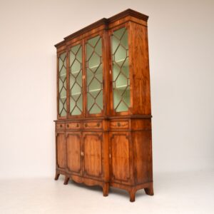 Antique Yew Wood Regency Style Breakfront Bookcase