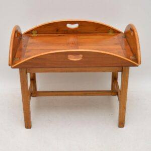Antique Georgian Style Yew Wood Butlers Tray Coffee Table