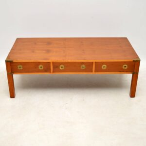 Large Antique Yew Wood Campaign Style Coffee Table