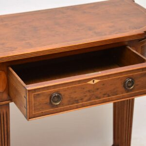 Antique Inlaid Yew Wood Console Table