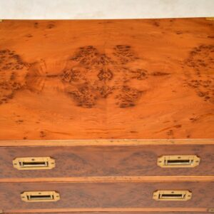 Antique Yew Wood Military Campaign Chest of Drawers