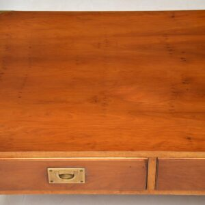 Antique Yew Wood Military Campaign Coffee Table