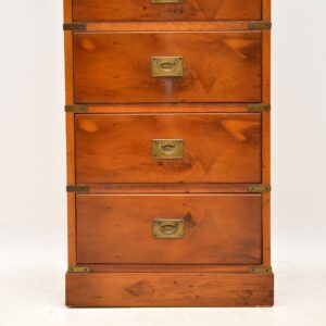 Antique Yew Wood Military Campaign Style Chest of Drawers