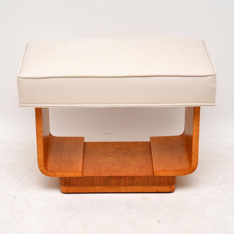 Original Art Deco Burr Maple & Walnut Stool
