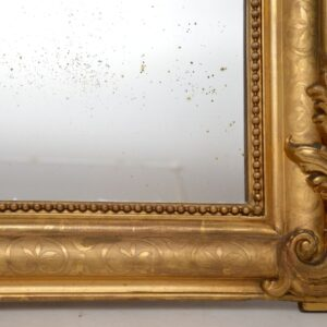 Large Antique French Carved Gilt Wood Mirror