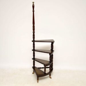 Antique Mahogany & Leather Library Steps
