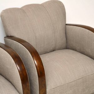 Pair of Art Deco Swedish Satin Birch Armchairs