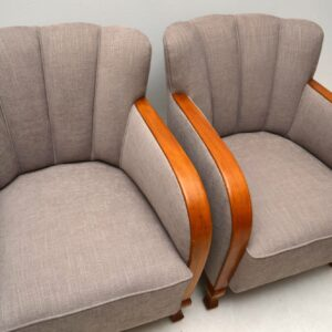 Pair of Swedish Art Deco Upholstered Armchairs