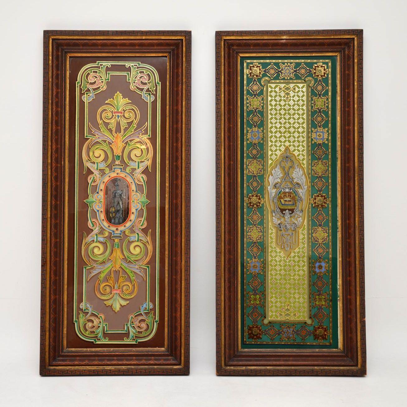 Pair of Antique Art Nouveau Decorative Mirrors or Glass Panels