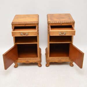 Pair of Antique Burr Walnut Bedside Cabinets