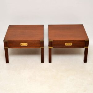 Pair of Antique Military Campaign Style Mahogany Side Tables