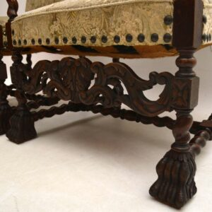 Pair of Antique Carolean Carved Walnut Upholstered Armchairs