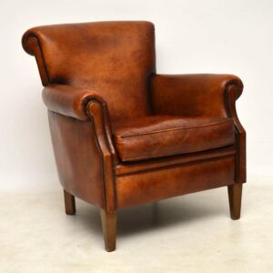 Pair of Antique Distressed Leather Armchairs