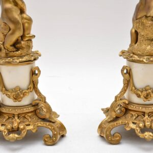 Pair of Antique French Gilt Bronze & Marble Lamps