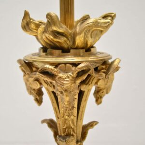 Pair of Antique Gilt Metal & Onyx Table Lamps