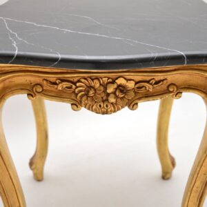 Pair of Antique French Gilt Wood Marble Top Side Tables