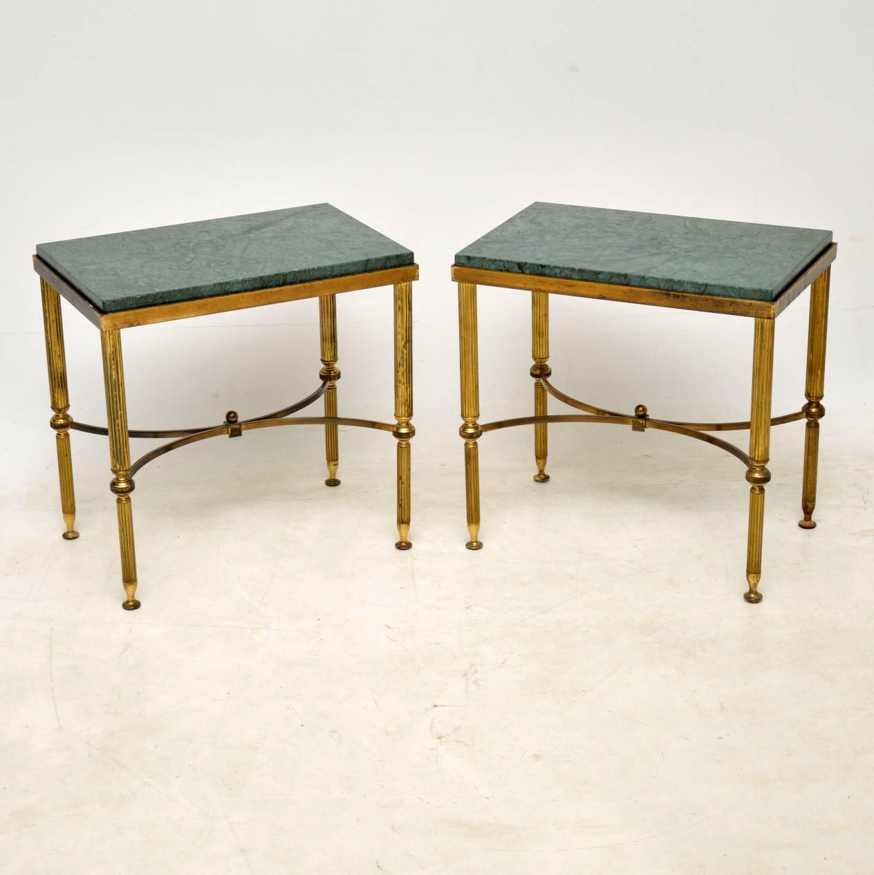Pair of Antique French Brass & Marble Side Tables