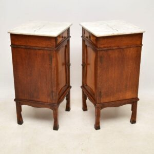 Pair of Antique French Marble Top Bedside Cabinets