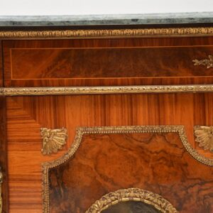 Pair of Antique French Marble Top Gilt Bronze Mounted Cabinets