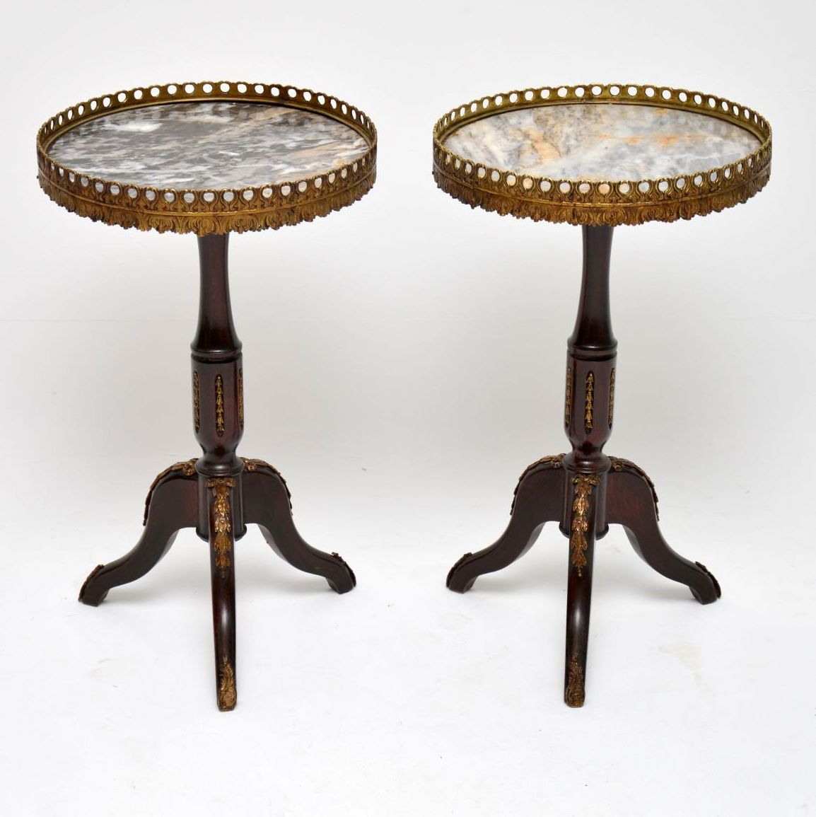 Pair of Antique French Marble Top Wine Tables