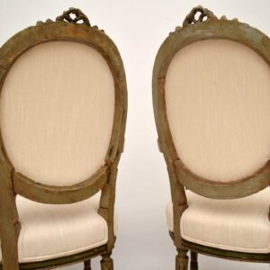 Pair of Antique French Distressed Painted Salon Armchairs