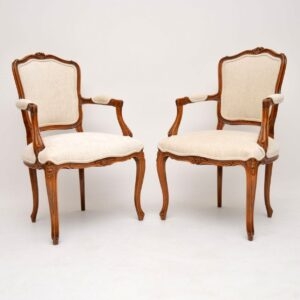 Pair of Antique French Walnut Salon Armchairs
