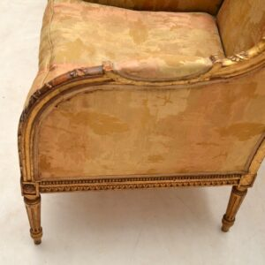 Pair of Antique Gilt Wood Wing Back Armchairs