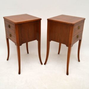 Pair of Antique Inlaid Mahogany Bedside Tables