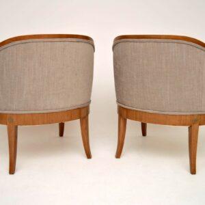 Elegant Pair of Antique Swedish Satinbirch Armchairs