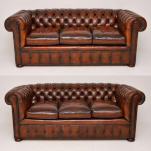 Pair of Antique Deep Buttoned Leather Chesterfield Sofas