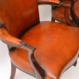 Pair of Antique Leather & Mahogany Open Armchairs
