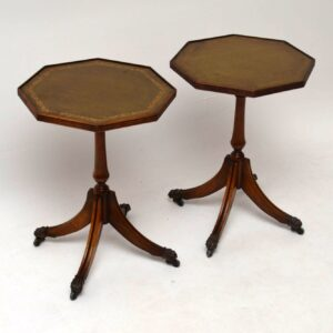 Pair of Antique Mahogany & Leather Wine Tables