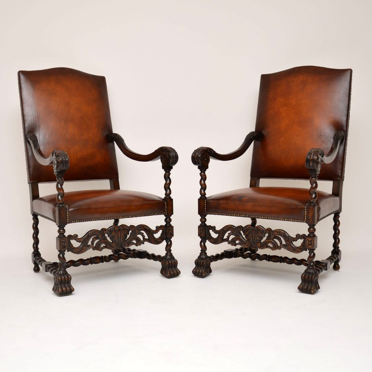 Pair of Antique Leather Upholstered Carved Oak Carolean Armchairs