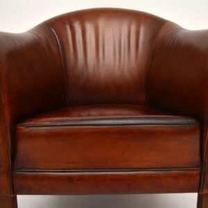 Pair of Swedish Antique Leather Tub Armchairs