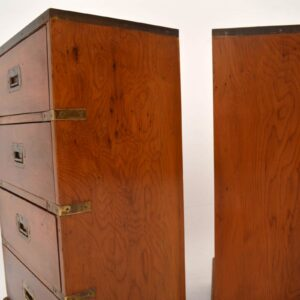 Pair of Antique Campaign Style Yew Wood Chests