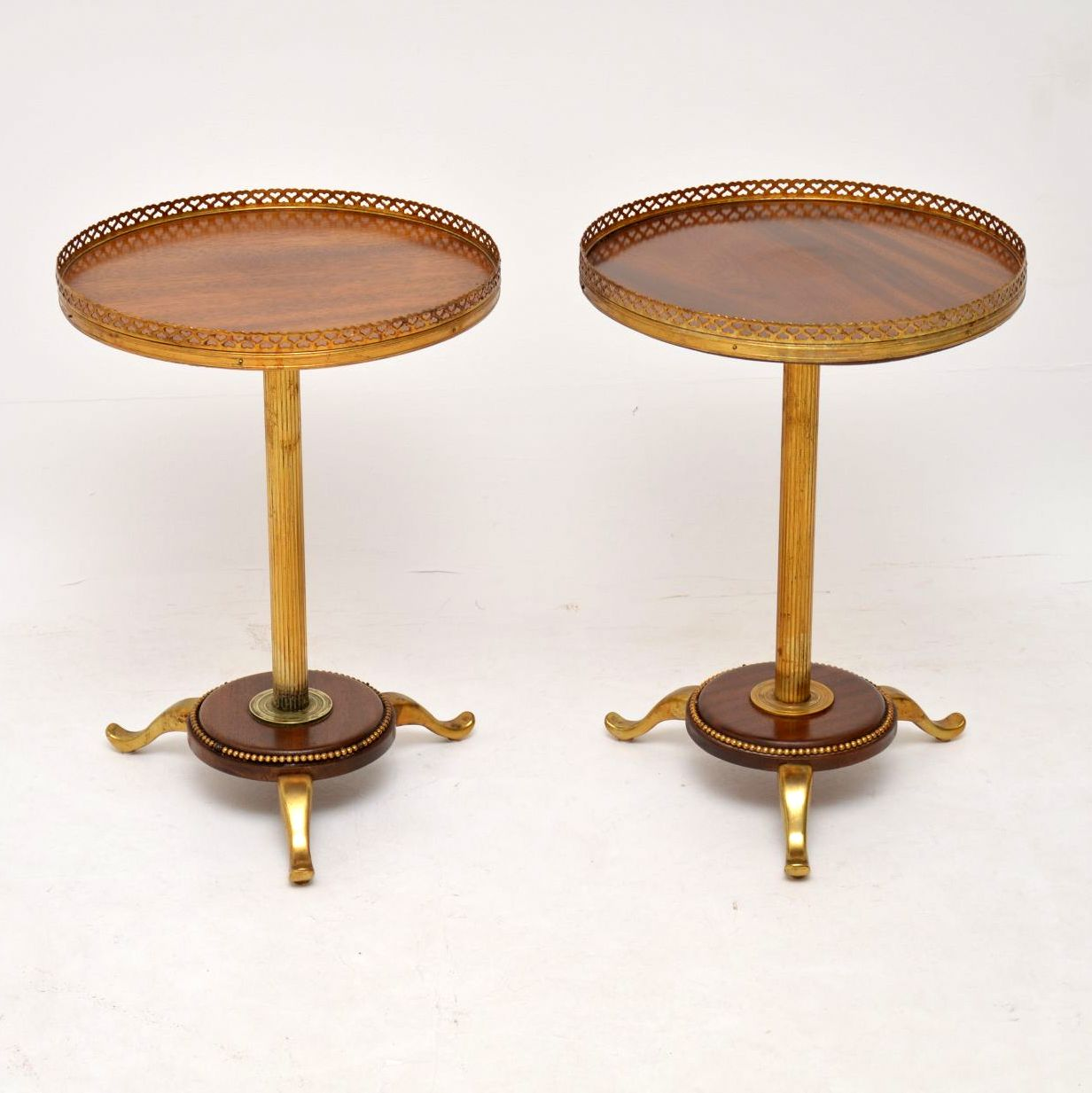 Pair of Antique Mahogany & Brass Wine Tables
