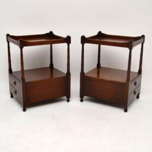 Pair of Antique Georgian Style Mahogany Lamp Tables
