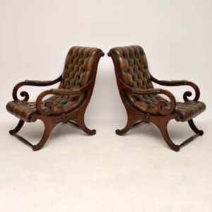 Pair of Antique Mahogany & Leather Armchairs