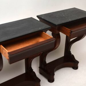 Pair of Antique Mahogany & Marble Side Tables